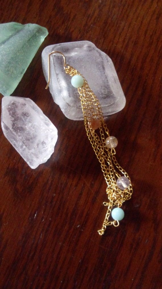 waterfall rutilated quartz and amazonite pierced earring(1pc.)