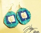 Blue felt earrings with pearls