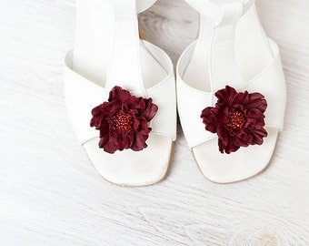 Burgundy leather flowers shoe clips bridesmaid dark red shoe clips