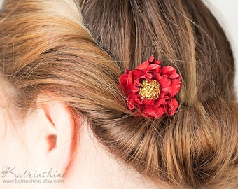 Bridal red leather flower comb - set of 1, Wedding accessory, Christmas hair accessory, Bridesmaid Gift