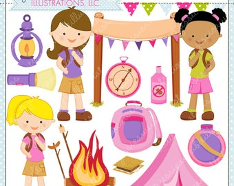 Girl Camp Trip Cute Digital Clipart for Commercial or Personal Use, Camping Clipart, Camping Graphics