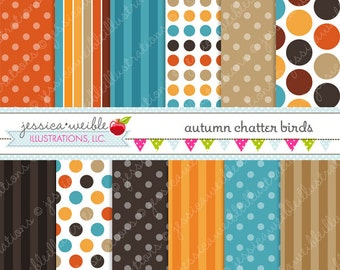 Autumn Chatter Birds Cute Digital Papers Backgrounds for Commercial or Personal Use, Autumn Papers, Autumn Background