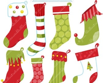 Traditional Jolly Stockings Cute Digital Clipart - Commercial Use Ok - Christmas Stocking Clipart, Stockings, Christmas Graphics