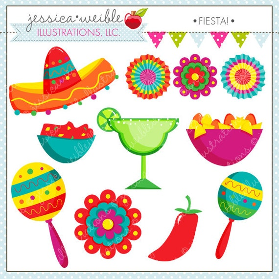 Fiesta Cute Digital Clipart For on fiesta bunting clip art