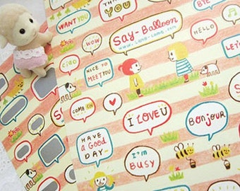 Say Balloon Stickers / Pink Town - 2 sheets (4.7 x 7in)