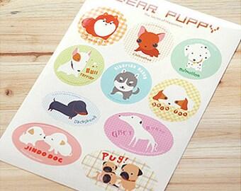 Dear Puppy Round Label Stickers - 10 EA (6.3 x 9in)