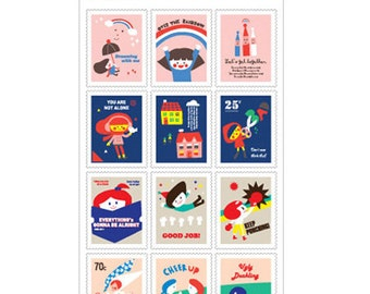 Palette Stamp Stickers - Fighting, 2 sheets (3.9 x 7.9in)