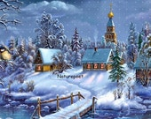 Winter Village Scene Downloadable Printable Digital Art Image