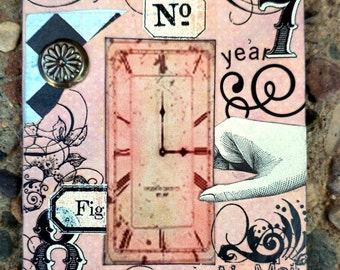 Time Awaits A Collectable Conceptual AcEo Artist Trading Card Alteredhead On Etsy Artwork ATC Original Handmade Design On Etsy Artwork