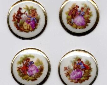 4 Vintage 35mm Limoges Fragonard Scene Porcelain Cabachons