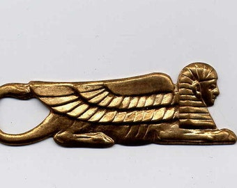 2 Egyptian Winged Sphinx Brass Metal Stamping