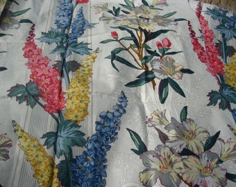"""Striped Floral Drapery Fabric Pink, Blue and Yellow, """"Lupins"""" Burger Paris"""