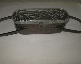 VINTAGE circa 1950.. silver/gray pearlized Lucite purse/handbag