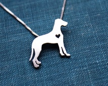 Great Dane necklace sterling silver, tiny silver hand cut dog pendant with heart,