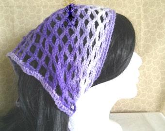 Lavender/White Crochet Kerchief