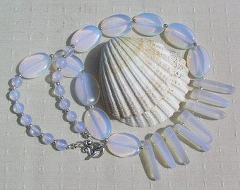 """Crystal Gemstone Statement Fan Necklace, Opalite & White Sea Glass """"Ice Berg"""", White, Chakra Necklace, Tribal Necklace, Beach Necklace"""