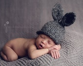 Bunny Hat, Knit Newborn Baby Hat, Easter Rabbit, Ready to Ship, Knitted Photo Prop, Charcoal Gray, Great Knitted Gift, RTS
