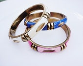 RESERVED FOR BETH vintage colorful stacking  bangle bracelet