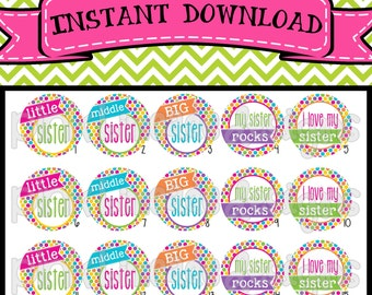 """Colorful Sister Sayings - INSTANT DOWNLOAD 1"""" Bottle Cap Images 4x6 - 502"""