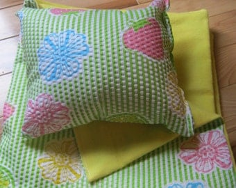 18 inch Doll Bedding, green, pink, and yellow blanket and pillow for 18 inch doll