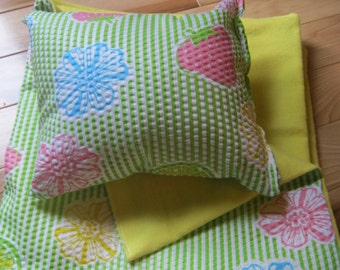 American Girl Doll Bedding, green, pink, and yellow blanket and pillow for 18 inch doll