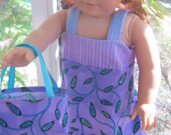 18 Inch Doll Clothes, purple dress with purse for 18 inch doll