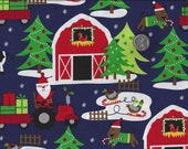 Santa Farm I Spy Christmas Dog Pig Cow Tractor Fabric By the Fat Quarter