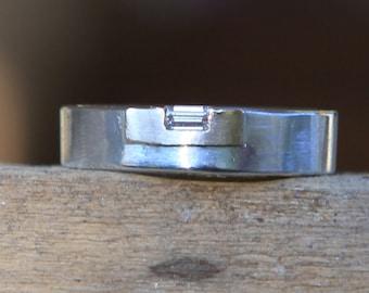 Modern .08 Ct Emerald Cut Diamond Ring Size 6 14K Gold Mount In Argentium .935 Band