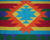 "SOUTHWESTERN Inspired Design-Handcrafted-Patchwork-Bed Quilt-64"" X 87""-Made in USA by MJ Quilts-Free Shipping"