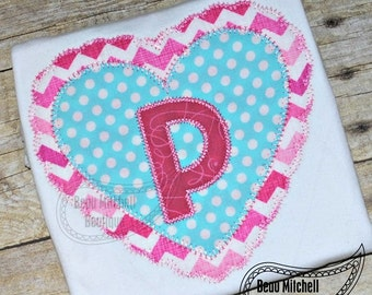 Double Heart applique embroidery design