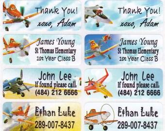 40 PLANE for boys Custom Vinyl Name Labels-School, Daycare, Nursery, Lunch Box, Water Bottle, Summer Camp, Address