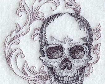 Baroque Skull Embroidered Cotton Terry Bath Towel