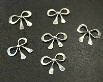 6 pcs - ( Antiqued Finish ) Sterling Silver Sweet Bow Charms - handmade