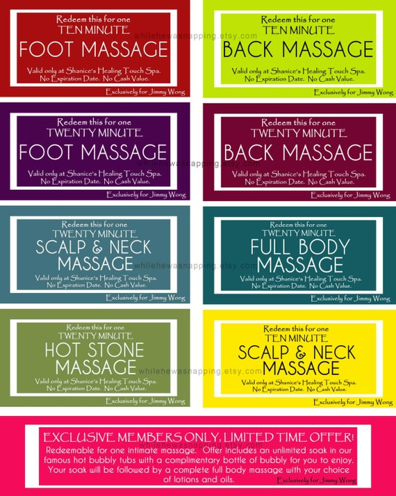 RESERVED FOR SHANICE - Custom Massage Coupons
