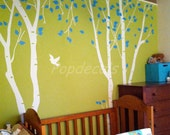 Birch Trees Vinyl Wall Decal Nature Tree Decals Living Room Tree Decal Office Trees Decal- Birch Trees in the Nature Garden 2