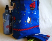 Back to School Insulated Lunch Tote, Pirate Ships - Drawstring Top, Machine Washable & Dryable - AThreadofGrace