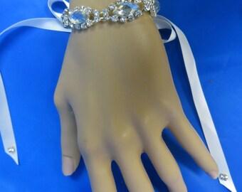 Bridal Bracelet, Bridal Jewelry,  Ribbon Bracelet, Wedding Bracelet, Rhinestone Bracelet
