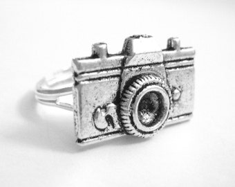 Silver Camera Jewelry - Womens Camera Ring - Adjustable Ring - Photographer Gift