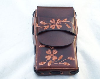 Leather Cigarette Case with Dogwood and Bic Lighter Holder