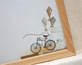 Magnetic Memo Board-Magnet Board-Dry Erase Board-Framed Bulletin Board-Wall Decor-Bike Design-includes magnets