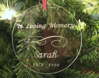 Rememberance Ornaments,  Engraved Christmas Ornaments, Personalized ornament