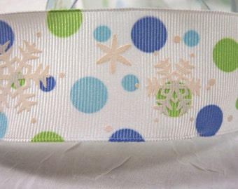 Christmas Ribbon Polka Dots and Snowflakes Aqua, Periwinkle and Lime Wired Edge