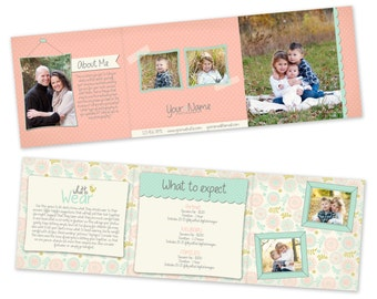 INSTANT DOWNLOAD Photography Marketing - 5x5 Trifold Brochure Template - 0795