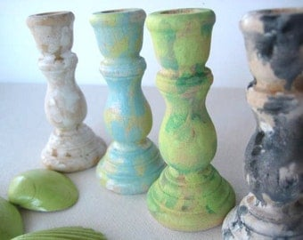 4 Hand Distressed Candlesticks -Wooden Candle Holders in White, Black and White Camo, Light Green and Spa Blue -Shabby Chic