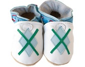 Tee Time (baby shoes in all-natural leather, white with blue)