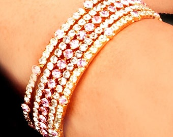 Indian Bangle Set ,Pink Crystal Bangles,Stacking, Indian Bangle set 3 Bangles,wedding,bridal faire, bridesmaids gifts by Taneesi Jewelry