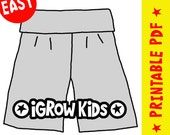 Size 6-18 mths AND 1-2 yrs. Beginner - 1 hour project. Easy Sewing ePattern for boys or girls. How to make iGrow Pants PDF
