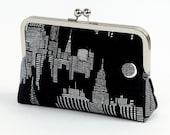 New York Night clutch purse, Halloween, Bag Noir, Bridesmaid clutch, Weddings bride formal clutch purse