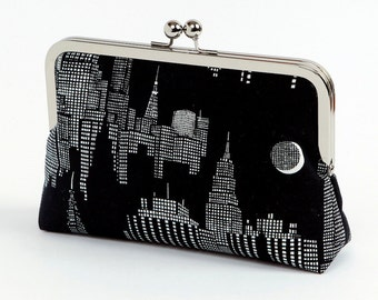 New York Night clutch purse, Halloween, Bag Noir, Bridesmaid clutch, Weddings bride formal clutch purse