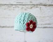 Crochet Baby Hat for Girls, Baby Newsboy Hat, Baby Girl Hat, Infant Hat, Newborn Hat, Robin's Egg Blue, Newborn Size